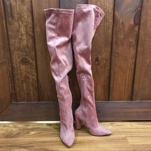 Shoes - NWOB PINK BLUSH SUEDE THIGH HIGH BOOTS SIZE 6